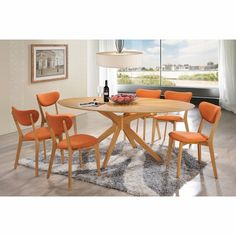 Starburst Oval 5-Piece Dining Set with Lucy Dining Chairs - Click to enlarge