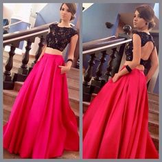 2016 New Fuchsia Two Pieces Prom Dresses Cap Sleeves Lace Beaded Top Satin Floor Length Party Evening Dresses Online with $139.42/Piece on Angelia0223's Store | DHgate.com
