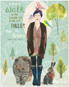 I took a walk in the woods and came taller than the trees Lovely print by Illustrator Mooie zondag! Environmental Posters, Rachel Grant, Art Grants, Beautiful Collage, Beautiful Images, Nature Illustration, Walk In The Woods, Tree Print, Art World