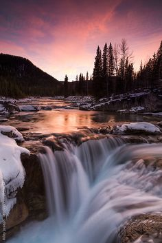 A long exposure of a small water fall at sunset in the winter. by Riley JB - Waterfall, Wilderness - Stocksy United Landscape Photography Tips, Landscape Photos, Nature Photography, Fall Landscape, Beautiful Waterfalls, Beautiful Landscapes, Beautiful Images, Beautiful Scenery, Nature Pictures