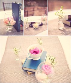 Centerpieces consisted of old books, tea cups, and small bud vases, in different combination's on the tables.