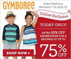 Save an extra 50% off at Gymboree today only