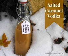 1 cup 80 proof (40%) vodka,16 caramels, about 2 days of occasional shaking until dissolved,strain thru coffee filters. Add a pinch of salt. DONE! YUMMY!!!