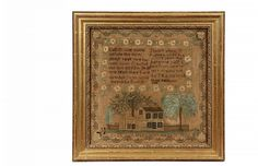 FRAMED AMERICAN SAMPLER - Poetry Sampler with Georgian house set between trees and picket fence, silk on linen, marked 'Eliza Ann Stair, work made in 1826', in gilt molded frame, under glass, OS: 21 3/4' square, SS: 1...