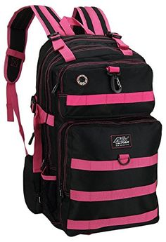 Womens Mens Large 21 Inch Outdoor Black Pink Tactical Molle Hydration Ready Backpack Bags