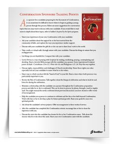 Confirmation Sponsors Talking Points-- Download a list of suggestions for conversation topics for sponsors to discuss with candidates | Sadlier Religion Confirmation Sponsor, Confirmation Letter, Conversation Topics, Talking Points, Helping Children, Faith Hope Love, Communion, Lesson Plans, Catholic