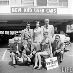 Miss New Car Dept. at Muller Bros. Automotive on Sunset Blvd. in Hollywood.