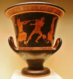 Red Figured Krater (mixing vessel), depicting the death of Orpheus, Terracotta, Villa Giulia Painter, Greek, made in Athens, 460-450 BC, Getty Villa, Malibu