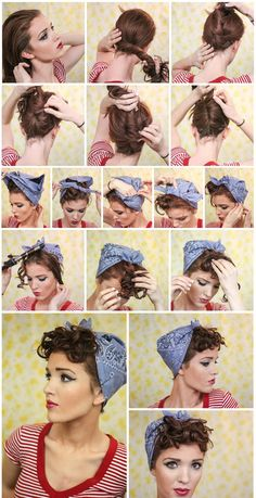 This should be really easy to do with my short hair. Just brush the bangs forward and tie back the rest. I love bandannas, so I can even switch colors. And as I don't have a curling iron, I can probably rag roll my hair.