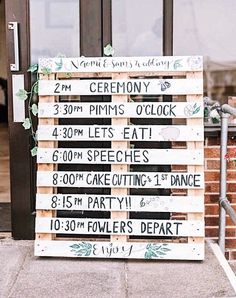 Wedding Programme Wooden Crate Personalised rustic Order Of The Day large Wedding pallet Sign wedding sign wooden sign - Wedding 2020 - for wedding decor wooden signs Order Of The Day Wedding, Post Wedding, Dream Wedding, Wedding Tips, Wooden Crates Wedding, Pallet Wedding, Rustic Boho Wedding, Wedding Schedule, Wedding Planning