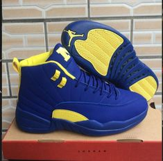 2018 New Arrival Nike Air Jordan 12 Basketball Shoes Blue Yellow Blue Jordans, Jordans Girls, Nike Air Jordans, Retro Jordans, Jordan 12 Shoes, Air Jordan Basketball Shoes, Basketball Shooting, Basketball Hoop, Jordan Xii