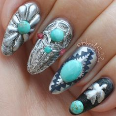 Try these beautiful nails inspired by turquoise jewelry using this nail art tutorial by rose of @happilyeverose.