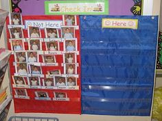 We love this picture pocket chart attendance system. It has TONS of student buy-in and name recognition for very young scholars.
