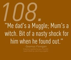 Seamus Finnigan; perhaps the only wizard who is okay with his dad being a Muggle.