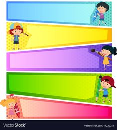 Banner templates with happy kids Royalty Free Vector Image Kids Planner, Boarder Designs, Felt Puppets, Values Education, School Coloring Pages, Powerpoint Free, School Frame, Powerpoint Background Design, Kids Background