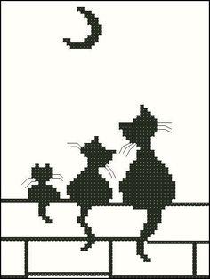 Broderie Mini chats et lune - Stella ✨ - Pint Pic Cat Cross Stitches, Cross Stitch Charts, Cross Stitch Designs, Cross Stitching, Cross Stitch Embroidery, Cross Stitch Patterns, Motifs Afghans, Afghan Crochet Patterns, Crochet Motif