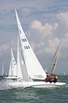 The Dragon class sailboat 'The Old Bailey' racing during Cowes Week 2013.