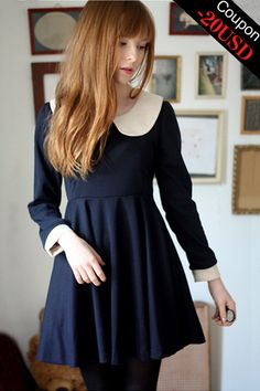 It might be navy, but it would be a perfect Wednesday Adams dress!