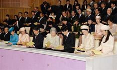 imperialfamilyjapan:  Members of the Japanese Royal Family attended the concert performed by graduating students from 5 universities of music, Peach Bloom Music Hall, Imperial Palace, March 18, 2015-Princess Hanako, Crown Princess Masako, Crown Prince Naruhito, Empress Michio, Prince Fumihito, Princess Kiko, Princess Kako; behind-Princess Noboku and Princess Akiko