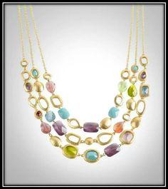 Bezel stone triple strand necklace.