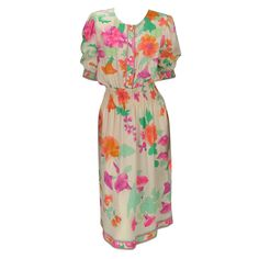 Paris floral silk smocked waist dress | France, 1980-2000