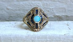 Vintage Diamond Sapphire and Opal Ring