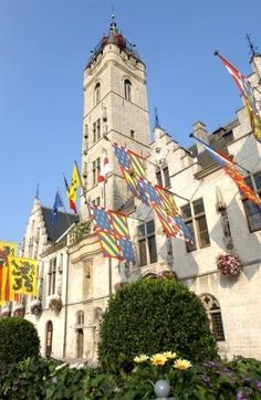 DENDERMONDE town hall with Flemish and Bourgondian flags - Day 4: Cycle Antwerp to St Amands or Dendermonde: 42 or 56 km