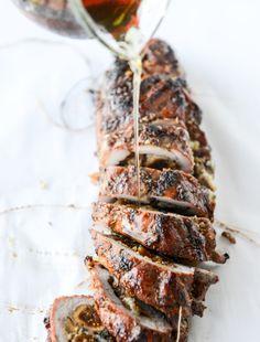 brown sugar roasted pork tenderloin (with bourbon figs and gorgonzola!) I howsweeteats.com