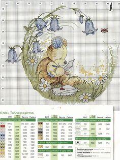 Teddy bear writing letters cross stitch