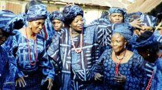 "dynamicafrica:  Yoruba women dressed in Adire textiles, in a still taken from the documentary ""Adire - Indigo Textiles amongst the Yoruba"".  Nigerian Adire artist, Nike Olaniyi Davies in the middle"