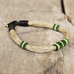 Surfer bracelet Green mens bracelet Black Green Rope jewelry for men Organic jewelry Gift for husband String jewelry