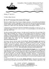 Arandora Star 75th Anniversary Sponsor Letter