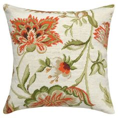 $70.95 Nice pop of orange color- hand embroidered, but still a bit pricey. Showcasing a hand-embroidered design and floral motif, this lovely wool pillow adds a stylish touch to your sofa or settee.  Product...