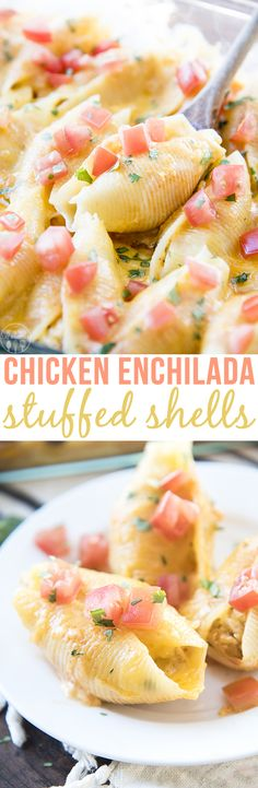 Chicken Enchilada Stuffed Shells - These stuffed shells are stuffed full of a cheesy creamy chicken mixture, and topped with enchilada sauce and more cheese! Gilbert Realtor Bill Salvatore with Arizona Elite Properties Pasta Dinners, Weeknight Dinners, Chicken Enchiladas, Cheese Enchiladas, Enchilada Sauce, Enchilada Recipes, Chicken Recipes, Chicken Meals, Pasta Recipes
