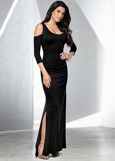 Black Cold shoulder maxi dress from VENUS. Sizes XS-XL!