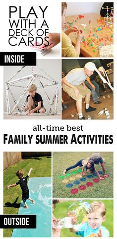 Family Playtime: Great Ideas for Indoor and Outdoor Play this Summer! - Best Summer Outdoor Activities and Summer Indoor Activities for Summer – two great lists! Outdoor Summer Activities, Creative Activities For Kids, Indoor Activities, Family Activities, Time Activities, Kids Fun, Outdoor Play, Indoor Outdoor, Outdoor Games