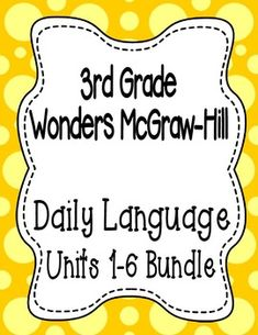 These are the Daily Language sentences that go along with the 3rd grade Wonders McGraw-Hill reading series. The sentences are designed for a daily editing practice. This is a great warm-up activity prior to beginning a grammar or language arts lesson.