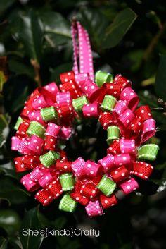 Mini ribbon wreath ornament