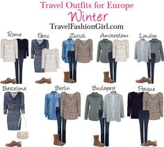 Check out these travel outfit ideas for backpacking Europe in Winter - shows you what to wear in different cities: