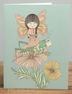 Grasshopper Fairy | Red Cap Cards | Illustrated greeting card by Carrie Gifford #butterfly