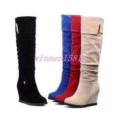 Women'S High Wedge Heel Faux Suede Boots Pull On Thick Knee High Boots Fashion
