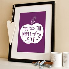 Apple Of My Eye Print  A4 Print by OldEnglishCo on Etsy, £15.00