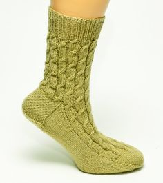 Staggered Cable Socks by byhandbyjean on Etsy