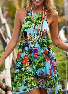Damas Swing vestido-Aqua floral mixto flor estampado con Aqua POM POMLadies Swing Dress – Aqua Floral Mixed flower Print with Aqua Pom Pom'sLILLA' Beach Dresses, Sexy Dresses, Casual Dresses, Summer Dresses, Mini Dresses, Dress Beach, Short Dresses, Ladies Dresses, Floral Dresses