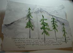 watercolor evergreens, delicate, simple, ethereal  (Wildflowerhouse)