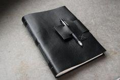Large Black Leather Journal or Sketchbook - 7x10