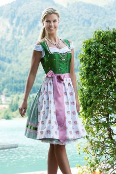 Dirndl midi 60 cm Julina oliv/rosa Country Line | Dirndl midi von 60 – 70 cm | Damen | Trachtenoutlet24