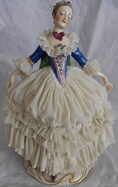 Dresden Fine Elaborate Vintage Porcelain Lace Figurine Lady Germany...GORGEOUS