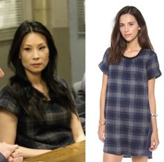 Elementary season episode Joan Watson's (Lucy Liu) Sea Plaid and Chambray Dress Chambray Dress, Nice Dresses, Shift Dresses, Spring Outfits, Work Outfits, Wool Dress, Elegant Outfit, Designer Wear, Outfits