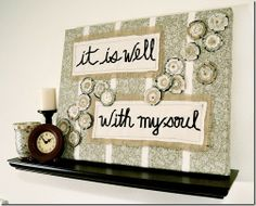 fabric on canvas - I like the look of this - (need to come up with the perfect quote for our family...hmmm)